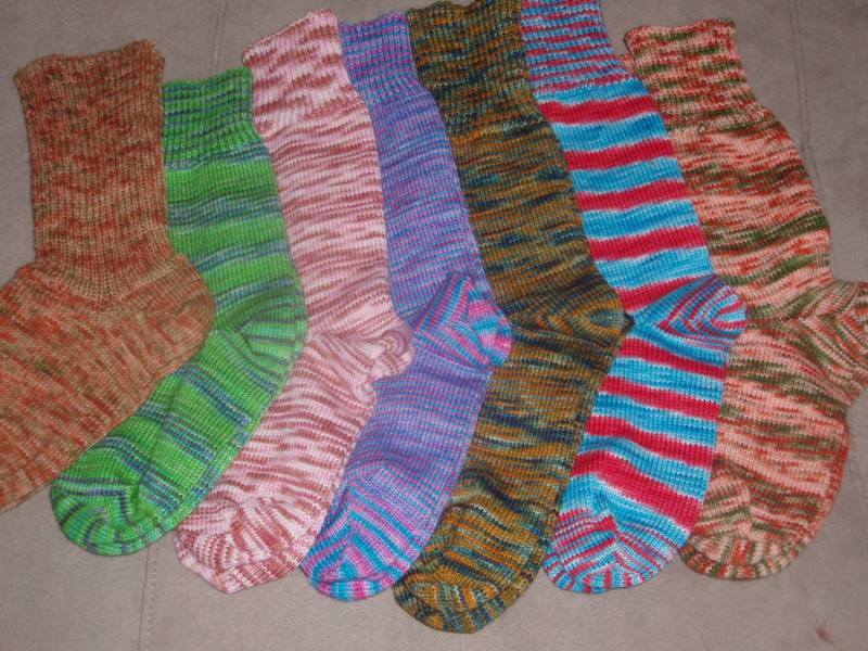 1 of a kind Hand Cranked socks by Kim.  Made to fit your feet!
